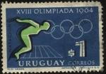 Sellos de America - Uruguay -  XVIII Olimpiadas año 1964. Natación
