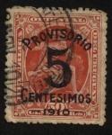Stamps Uruguay -  Mercurio 1889. Sobrecargado Provisorio 5 Centésimos en 1910.