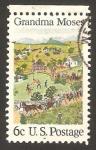 Stamps of the world : United States :  Cuadro de Grandma Moses, 4 de Julio