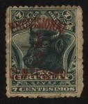 Stamps Uruguay -  Cabeza de vacuno. 1895 7 centésimos. Sobreimpreso 1898 provisional 1/2 centésimo.