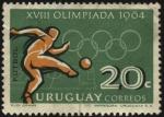 Stamps Uruguay -  XVIII Olimpíada de 1964. Fútbol.