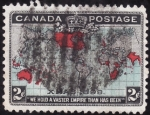 Stamps of the world : Canada :  MAPA IMPERIO BRITÁNICO