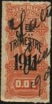 Sellos de America - Uruguay -  Escudo Nacional. Timbre impuesto del 1er trimestre de 1911. Sobreimpreso.