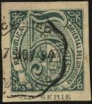 Sellos de America - Uruguay -  Sello cifra 5 centésimos, variedad dentro de las múltiples de 1866.