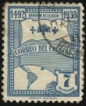 Stamps America - Uruguay -  Año 1492 descubrimiento de América. Bandera de la Raza.
