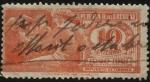 Sellos de America - Uruguay -  Mercurio figura mitológica y Escudo Nacional. FFFF Timbre impuesto año 1920.