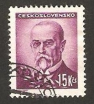 Stamps : Europe : Czechoslovakia :  tomas masaryk, presidente checo