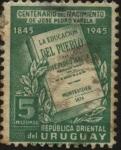 Stamps Uruguay -  Libro la Educación del Pueblo autor José Pedro Varela 1845 - 1879. Sociólogo, periodista y político.