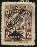 Stamps Uruguay -  Franquicia postal de 1943 sobrecargado Impuesto Encomiendas faro en cerro de Montevideo.