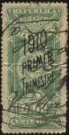 Sellos de America - Uruguay -  Escudo Nacional. Timbre impuesto sobreimpreso 1910 primer trimestre.