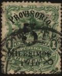 Sellos de America - Uruguay -  Arreo de animales vacunos. Sobrecargado en 1910 Provisorio 5 milésimos.