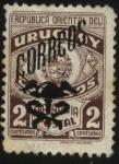 Sellos de America - Uruguay -  Escudo Nacional. Sello de franquicia postal sobrecargado CORREOS con pétaso alado y el caduceo.