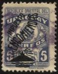 Sellos de America - Uruguay -  Correos franquicia postal. Sobreimpreso Impuesto encomiendas faro y cerro de Montevideo.
