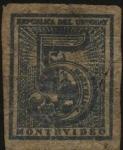 Stamps Uruguay -  Sello cifra de 1866. Montevideo. 5 centésimos