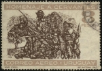 Stamps of the world : Uruguay :  Homenaje a Miguel de Cervantes Saavedra. Sancho y Don Quijote.