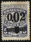 Sellos de America - Uruguay -  FFFF Escudo Nacional. Sello de franquicia postal sobrecargado sobretasa 2 centésimos.