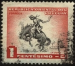 Stamps America - Uruguay -  Gaucho domando caballo con monta a pelo.