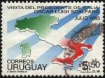 Sellos del Mundo : America : Uruguay : Contorno del mapa de Italia. Colores de las banderas de ambos países. Visita a Uruguay del President