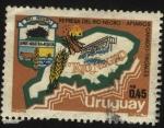 Stamps Uruguay -  Escudo y mapa del departamento de Río Negro. Represa de Palmar. Apiarios, trigales, ganado.