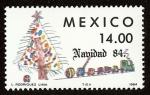 Stamps : America : Mexico :  Motivos Navideños 1984 - Arbol navideño y tren de juguete