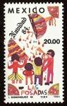 Stamps : America : Mexico :  Motivos Navideños 1984 - Rompiendo una piñata