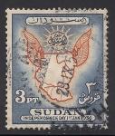 Stamps Africa - Sudan -  MAPA DE SUDAN Y SOL.