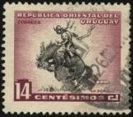 Sellos de America - Uruguay -  Gaucho domando el caballo con monta a pelo.