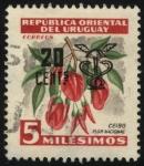 Sellos de America - Uruguay -  Flor Nacional del árbol de Ceibo.Sobreimpreso pétaso alado y caduceo,
