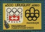 Stamps Uruguay -  Juegos Olímpicos de Invierno en Innsbruck 1976. Juegos Olímpicos en Montreal 1976. Los juegos Olímpi