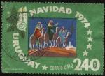 Stamps Uruguay -  Los tres reyes magos llegando a Belén. Navidad año 1974.