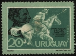 Stamps of the world : Uruguay :  El General José Artigas y el jinete Francisco De Los Santos, el último chasque artiguista.