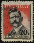 Stamps Uruguay -  Dr. Carlos Vaz Ferreira. Destacado filósofo uruguayo. 1872-1958