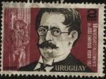 Stamps of the world : Uruguay :  Representación del Ariel en monumento. 50 años del fallecimiento del escritor José Enrique Rodó 1871