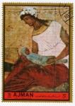 Stamps United Arab Emirates -  Pintura de la escuela de Moscú. La Virgen y el Niño
