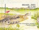 Sellos de America - Brasil -  Serie Pantanal - Caiman cocodrilus yacare y Plataleia ajaja