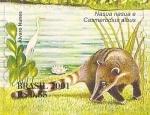 Stamps : America : Brazil :  Serie Pantanal - Nasua nasua y Casmerodius albus