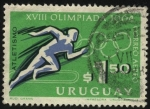 Stamps Uruguay -  XVIII Olimpíada Tokio 1964. Atletismo.