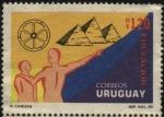 sellos de America - Uruguay -  La rueda y las pirámides de Egipto. Educación.