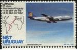 Sellos de America - Uruguay -  Lufthansa. 25 años de la lìnea Alemania - Uruguay. Boeing 747.