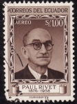 Stamps America - Ecuador -  SELLO CONMEMORATIVO DE LA MUERTE DE PAUL RIVET