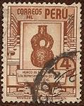 Sellos del Mundo : America : Perú :  Huaco Estilo Chavín, con representaciones de felinos en relieve.