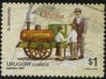 Sellos del Mundo : America : Uruguay : Carrito de manicero con forma de locomotora. El manicero, manices calientes!.