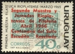 Sellos de America - Uruguay -  Primera muestra filatélica Rioplatense 1965. Sobreimpreso segunda muestra y Jornadas Rioplatenses de