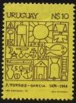 Stamps of the world : Uruguay :  Joaquín Torres García. 1874 — 1948. Artista plástico y teórico del arte uruguayo catalán.  Fundador