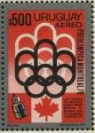 Stamps Uruguay -  Olimpíadas de Canadá, Montreal 1976. Transmisión de los juegos olímpicos vía satélite.