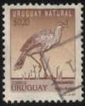 Sellos de America - Uruguay -  Seriema de patas rojas, cariama crestada o socori (Cariama cristata). Ave rastrera cuyo alimento pri