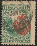 Stamps America - Peru -  Escudo Peruano sobrecargado con escudo Chileno