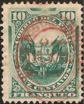 Stamps America - Peru -  Escudo Peruano sobrecargado con herradura de la Unión Postal Universal