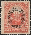 Stamps America - Peru -  Escudo peruano sobrecargado con doble herradura de la Unión Postal Universal