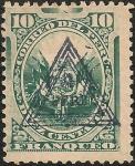 Stamps America - Peru -  Escudo Peruano con sobrecarga de Triangulo